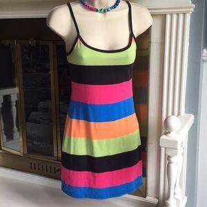 Striped multicolor form fit Mini Dress Sz Small